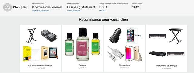 amazon recommandations de produits personnalisées
